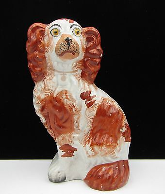 Small Antique Victorian Staffordshire Pottery Dog Figurine