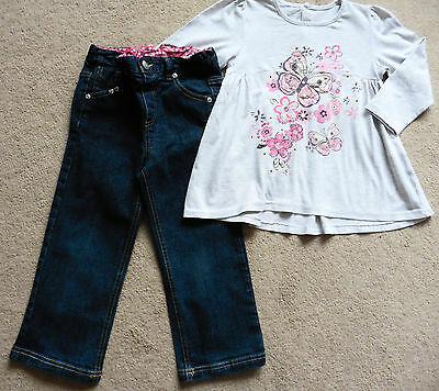 Girls Matalan Top + Pair Of Jasper Conran Stretch Denim Jeans, Age 3- 4 Years
