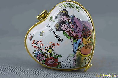 Collectable Porcelain Paint Smooth Describe Pair Beauty Outing Royal Jewel box