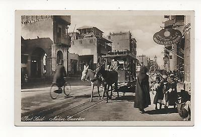 EGYPT PORT SAID NATIVE QUARTERS TRAM BICYCLE STREET SCENE REAL PHOTO? c1935?