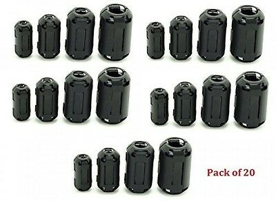 AUCH 20Pcs Clipon Ferrite Ring Core Black RFI EMI Noise Suppressor Cable Clip