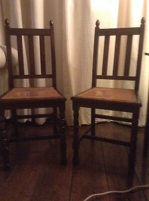 Pair of dining chairs, vintage oak
