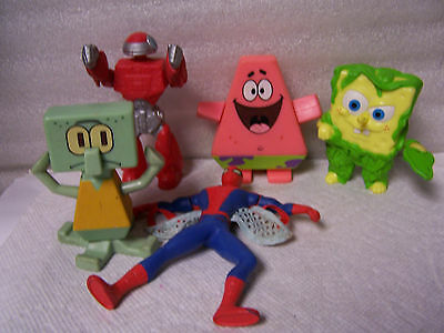 Lot of 5 Burger King Figures Spongebob, Squidward, Spiderman and More