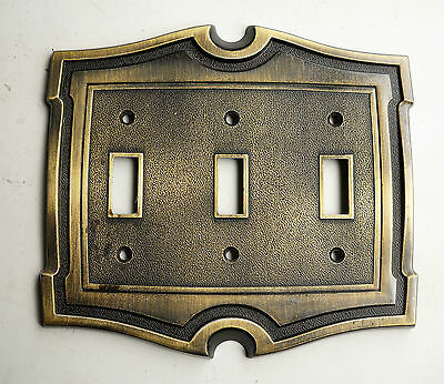 Vintage Antique Brass Ajax U.s.a. Triple Switch Plate Cover