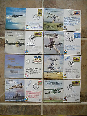 8x ROYAL AIR FORCE FLIGHT EVENT COVERS 7 HAND SIGNED 1980's