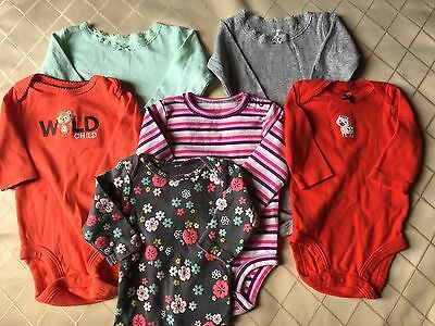 Lot of 6 CARTER'S carters long sleeve onesies 3 month infant baby girl clothes
