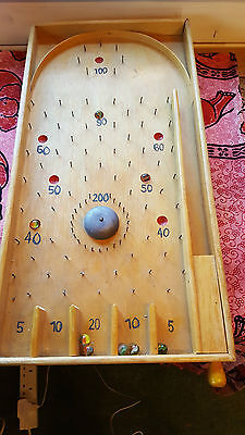 """Vintage Wooden Bagatelle game - spring type - 8 marbles included 2'6"""" approx"""
