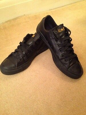 Black Leather All Star Converse Trainer Shoes Size UK 7