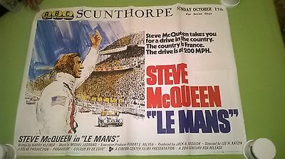 Le Mans 1971- Steve Mcqueen -  Original Uk Quad  Cinema  Poster .30 X 40 Inches