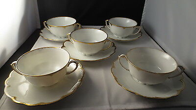 Vintage Mortiz Zdekauer MZ Austria Gold and White Cups and Saucers