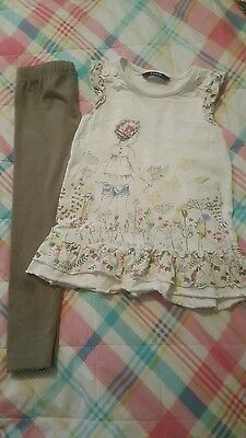 Girls outfit age 2-3 khaki leggings and gorgeous top