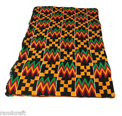 Kente Cloth Authentic Handwoven Traditional Ghana Large Cloth BlackGold Mix