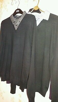 Three men's jumpers with shirts attached. Medium