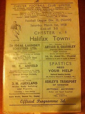 chester v halifax town football programme 1957-58