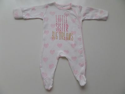 Next -Little Sister Big Dreams- Babygrow Playsuit Sleepsuit Baby Girl 0-1 Months