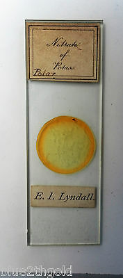 Antique Vintage Microscope Slide Chemistry Nitrate Of Potass By E I Lyndall