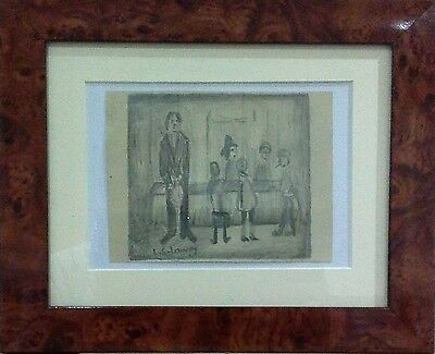 L.S. Lowry - framed interior scene, original pencil drawing on paper