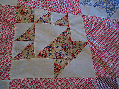 "Vintage Antique Basket Quilt Top Cotton Hand Stitched 87"" X 87"" 1930s Great Size"