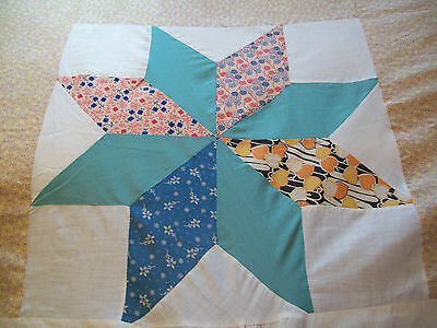 "Vintage Antique Star Quilt Top, ALL Hand Stitch Cotton  84"" X 84"" 1920s 1930s"