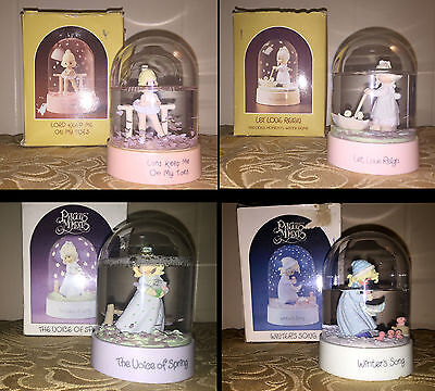 Lot Of 4 Precious Moments Water Domes Snow Globes Ballerina Love Spring Winter