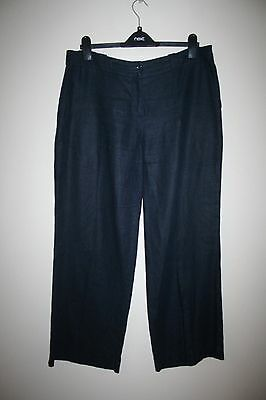NEXT - Navy Blue Linen Trousers Size 16 regular