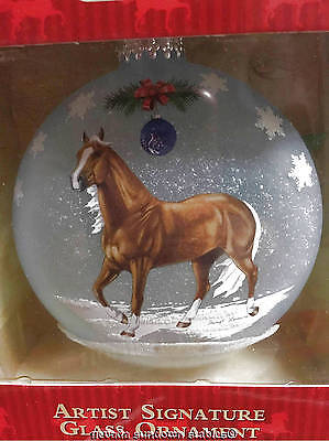 Breyer Christmas Creations Artist Blown Glass Ornament Qtr Horses In Blue Frost