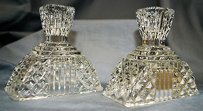 Pair of Vintage Glass or Crystal Candlesticks holder VERY GOOD CONDITION RARE
