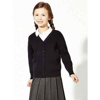 *NEW* John Lewis 100% Pure Cotton V-Neck School Cardigan, Navy, 7-8 YRS RRP £10