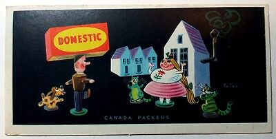 vintage RARE DOMESTIC Adv Blotter Canada Packers little wooden figures