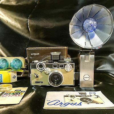 Argus C3 Matchmatic Outfit with LC3 light meter, flash, manual, and case
