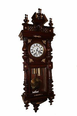 BEAUTIFUL GERMANY ANTIQUE WALL CLOCK GUSTAV BECKER Bronze Ornaments 1890