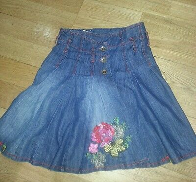 Girls jean skirt with coloured flowers, Next,,6 yrs, bnwot, elasticated/ad waist