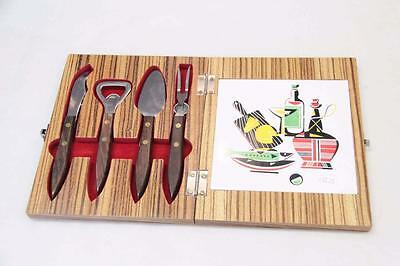 Retro Bar Set in a Wooden Box, 4 piece with chopping board#10367