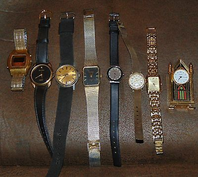 Lot Of 7  Wrist Watches Mechanical And  Quartz With 1 Miniture Clock