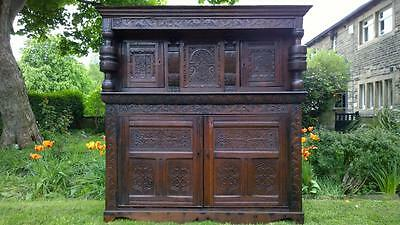 An Impressive Antique 18th Century Carved Oak Press / Court Cupboard / Dresser