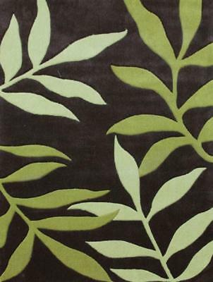 NEW Stunning Leave Design Rug Lime Charcoal