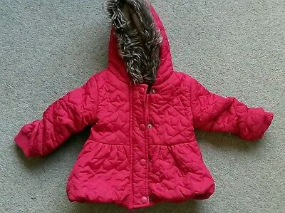 Baby girl red winter coat with faux fur hood 3-6 months