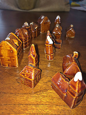 Brown Glazed Pottery Village Houses & Churches