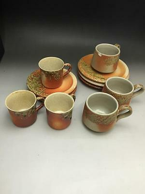 Japanese Shigaraki Ware Coffee Cups & Saucers 011931to