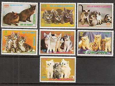 Equatorial Guinea 1978 Cats - Kittens Complete Set of (7) MNH