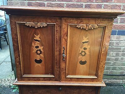 Vintage French Repo Cabinet, Marquetry Inlay To Doors, Carved Legs.