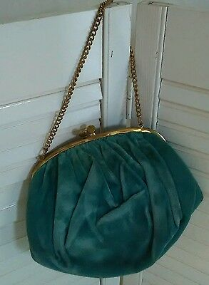 """Vintage """"Ingber"""" Velvet Purse - with Attached Coin Purse and Original Mirror!"""