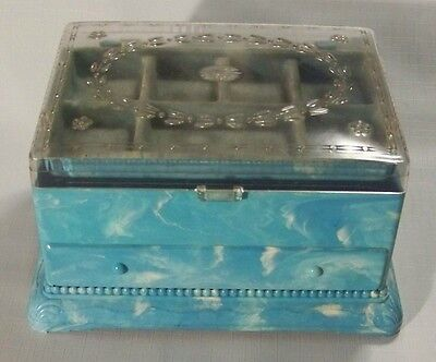 Vintage Blue & White Swirl Hommer Plastic Three Section Sewing Box