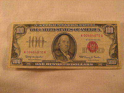 $100 series 1966 red seal bill 00464070A