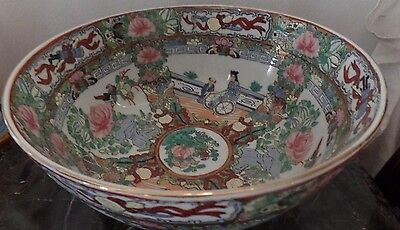 Vintage Asian Chinese rose medallion bowl 9.3/4""