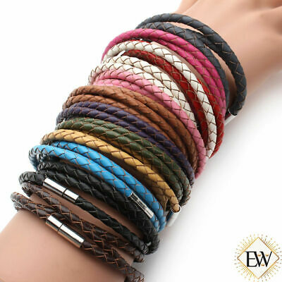 Namaste Jewelry Leather Braided Triple Wrap Bracelet Magnetic Clasps Hand Made