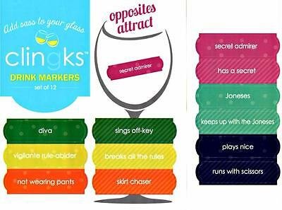 CLINGKS 12 Glass Drink Markers Clings OPPOSITES ATTRACT Wine Charms Gift NEW