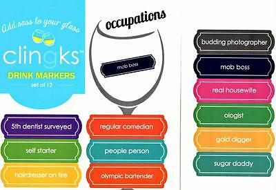 CLINGKS 12 Glass Drink Markers Clings OCCUPATIONS Wine Charms Gift NEW