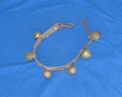 6 - Antique Brass Sleigh Bells on a Leather Strap 3 Sizes