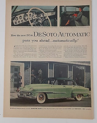 954 Desoto Automatic Woman Looking At Car On City Street Vintage Print Ad